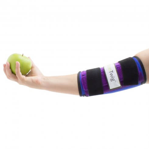 AlonTree Twig elbow brace extending arm holding apple
